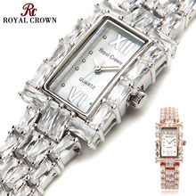 Prong Settiing Women's Watch Japan Quartz Fashion Fancy Dress Bracelet Luxury Crystal Party Girl Birthday Gift Royal Crown Box
