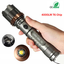 Self Defense LED flashlights Cree XM-L T6 4000LM Rechargeable Torch Lamps powerful Lantern Tactical Emergency Defensive zk65(China)