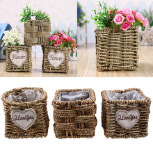 Straw Handmade Dried Flower Baskets Garden Flowerpot Wicker Rattan Sundries Food Snacks Storage Basket Home Desktop Decoration(China)