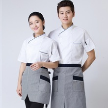 Short Sleeve Cooker Working Uniform Unisex Chef Jacket Coat Chef Uniform Comfortable Restaurant Kitchen Cooker Uniform(China)