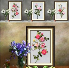 Red pink Rose Flower Ribbon embroidery set painting handcraft cross stitch kits DIY handmade needlework wall art decor gift idea