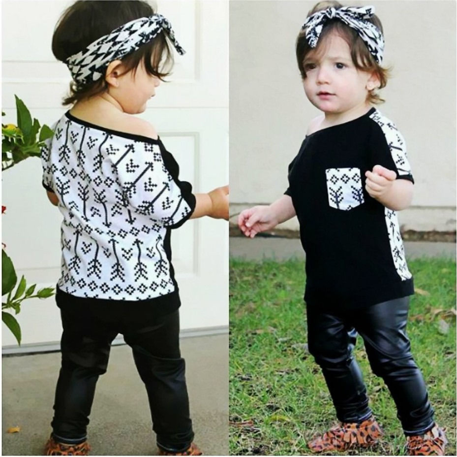 Toddler Kids Baby Girls PU Arrow Clothing Set Babies Girl T-shirt Tops+Long Pants 2PCS Sets<br><br>Aliexpress