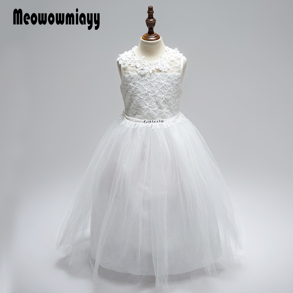 Wedding kids dresses for girls 2017 white Petal hollow heart-shaped kids clothes 3-11years sleeveless princess party dress<br>