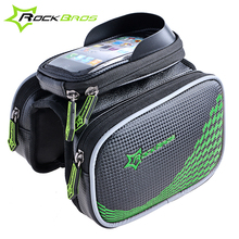 ROCKBROS Bicycle Cycling bag front frame bag Waterproof Bike Bag&Double IPouch Cycling For 4.2/ 5.8 /6 inch Cell Phone