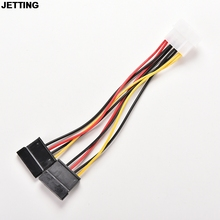 JETTING 1pcs Serial ATA SATA 4 Pin IDE to 2 of 15 Pin HDD Power Adapter Cable Hot Worldwide Drop Shipping(China)