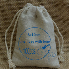 Personalized Logo Cotton Linen bags 8x10cm pack of 100 can print Wedding Company logo or store name(China)