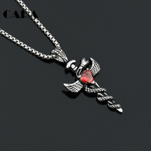 "CARA Fashion Men Jewelry Stainless Steel Angel Wings Cross Pendant Chain 27.5"" red crystal cross pendant necklace gift CAGF0149"