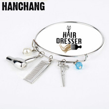 Funny Barber Pole Jewelry Charm Cosmetologist Hair Dresser Blow Dryer Comb&Scissors Bracelets&Bangle Barber Shop Women Jewelry(China)