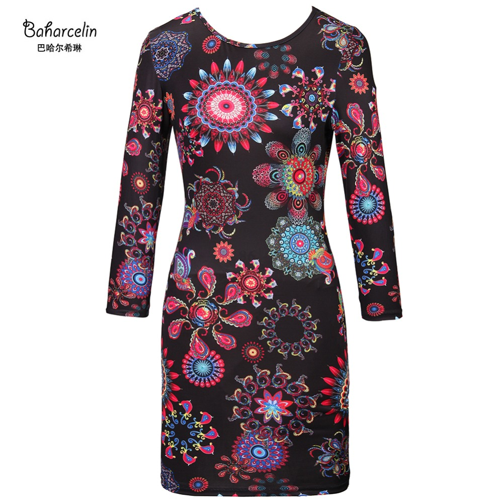 Baharcelin New Autumn Dress Women Long Sleeve Bodycon Dresses Vintage Floral Printed slim Knee length Dress One piece Dress(China)
