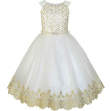 Sunny Fashion Flower Girls Dress Champagne Sequin Pearl Wedding Pageant 2017 Summer Princess Party Dresses Clothes Size 6-12