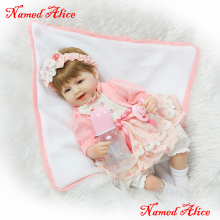 40cm Soft Body Slicone Reborn Baby Doll Toys named Alice girl reborn doll lifelike bebe alive reborn bonecas(China)