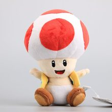 "Free Shipping NEW Super Mario Bros Mushroom Toad Plush Toys Red Color Soft Stuffed Dolls Children Soft Toys 7"" 18 CM"