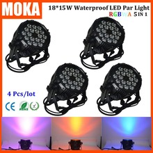 4 pcs/lot 18x15W led Par light RGBWA Led Par 64 Cans DMX512 waterproof outdoor lighting for Club Bar DJ Stage Party Wedding