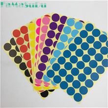 200 Pcs 2.5 cm Circle Round Color Coded Label Dot Sticker Inventory Code Tag 15 Color to chose 5 sheets(China)