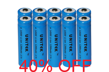 40%OFF 10pcs UNITEK ICR 3.7v 14500 li-ion battery 1200mah AA rechargeable lithium ion cell 2A for laser flashlight torch