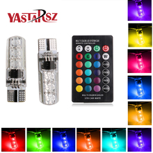 2017 newest 2 PCS coluorful car led light t10 6 SMD 5050 RGB 16 Colors LED W5W automotive led bulb flash strobe fade smooth mode