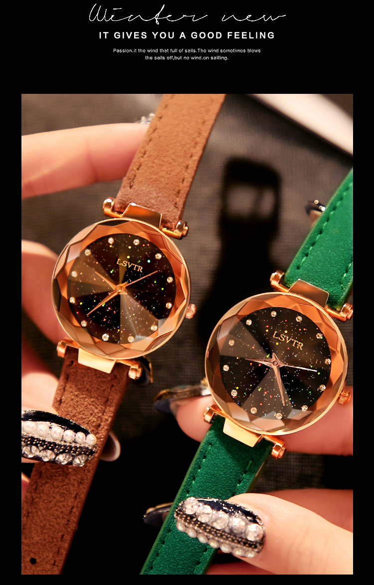 18 Luxury Brand Gogoey Women Watches Personality romantic starry sky Wrist Watch Leather Rhinestone Designer Ladies Red Clock 8