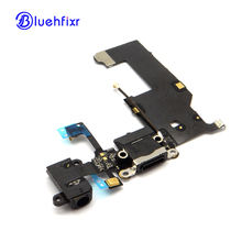 50 PCS/LOT Charging Port Flex Cable For iPhone 5 Charger USB Dock Connector with Headphone Jack Mic Antenna Cable Replacement(China)