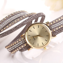 Reloj Mujer Hot Marketing Women Crystal Rivet Bracelet leather Band Quartz Braided Winding Wrap WristWatch Free Shipping,Sep 2(China)