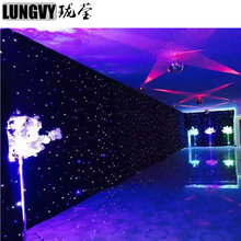 15ft*20ft Blue+White LED Stage Drape Star Cloth Curtain Backdrop Background Screen DMX Controller for Wedding Christmas Party