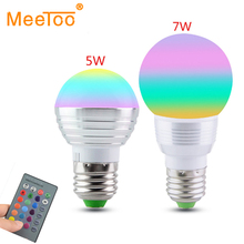E27 / E14 RGB LED Lamp 5W 7W 110V 220V LED RGB Bulb Light Lamp IR Remote Control 16 Color Change Holiday Party Decor Lampada LED(China)