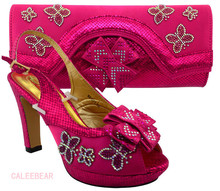 Unique Design Decoration Fuchsia Rhinestones Shoes With Matching Bag Party Proms Bridal Wedding High Heels(China)