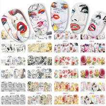 Mix 12 Designs Newspaper Nail Sticker Water Transfer Decals New Full Cover Lady/Letter/Flower Pattern Beauty Manicure BN565-576