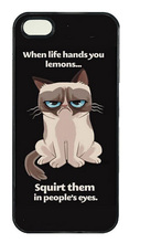 FUNNY GRUMPY CAT LEMON LIFE QUOT tpu silicon cellphone case cover for 5 5s 6 6 plus Samsung galaxy S3/4/5/6/7 edge Note 2 3 4 5