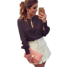 Polka Dots Silk Chiffon Blouse Shirts Plus Size Long Sleeve Studded Blouses Hollow Sexy Blusas O Collar Slim Women Blouse Tops