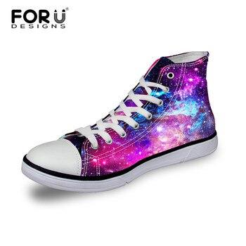 Forudesigns fashion women casual galaxy zapatos transpirables de alta superior y los zapatos de lona bajos, señoras pisos cordón femenino-hasta los zapatos para niña