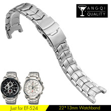 Yq Watch Bands For Casio EF-524 Stainless Steel Man Watch Strap Solid Curved End Brand Watchband Waterproof 22*13mm with Tools