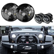 Plug and Play DOT 7 Inch Daymaker Round Project LED Headlights With 4 Inch LED Fog Lamps For Jeep Wrangler JK Unlimited(China)