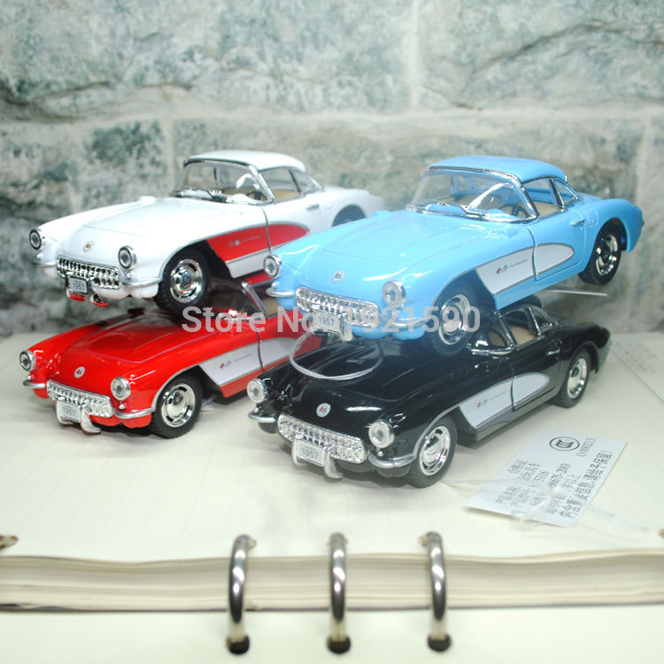 10pcs/pack Brand New KT 1/34 Scale USA 1957 Chevrolet Corvette Vintage Diecast Metal Pull Back Car Model Toy(China (Mainland))