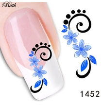 Bittb 2pcs Beauty Blue Flower Water Transfer Nail Art Sticker Decal French Manicure DIY Foil Fingernail Tips Decorations Makeup