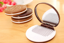 2 PCS free shipping Retail chocolate sandwich biscuit makeup mirror portable mirror compact mirror cute for girls WYQ