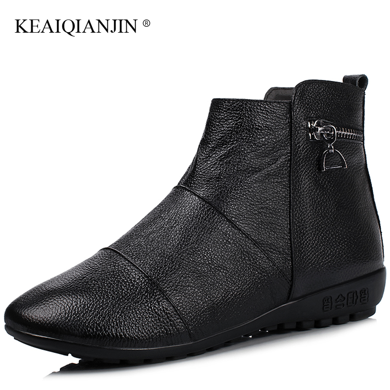 KEAIQIANJIN Woman Oxford Chelsea Boots Autumn Winter Plus Size 34 - 43 Platform Boots Genuine Leather Martins Bota Blataforma<br>