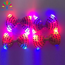 30PCS Halloween Christmas Wedding Party Glowing tie light up toy Female Male flashing led bow tie dancing stage decoration
