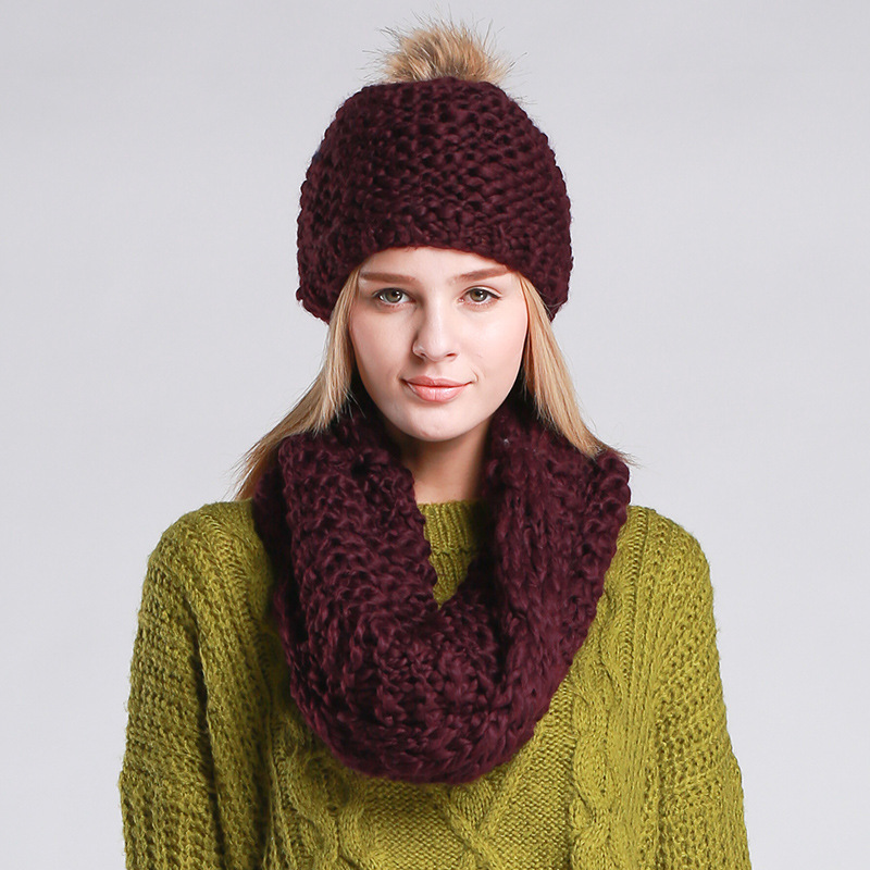 Women Knitted Hat and Scarf Lady Button Mosaic Beanies Warm Hat Female Winter Autumn Cap Christmas Gift mutsen en sjaalsОдежда и ак�е��уары<br><br><br>Aliexpress