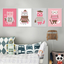 Pink Cat Cartoon Animals Canvas Art Print Painting Poster Wall Picture for Bedroom Home Decoration Nursery Baby Girl Kids Room