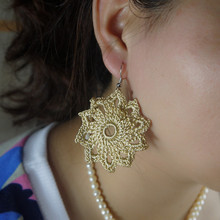 Handmade Crochet Wedding Earring Romantic Champagne Beach wedding Bride Bridesmaid decorative ornament(China)