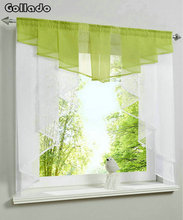 Fashion Pleated Design Stitching Colors Tulle Balcony Kitchen Window Curtain One Set(China)