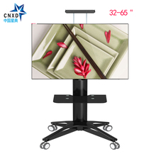 "Aluminum Alloy TV Mobile Cart 32""-65"" LCD LED TV Trolley Display Stand Free Lifting TV Floor Bracket With Wheels and DVD Shelf(China)"