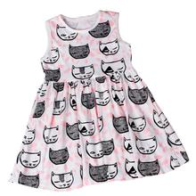 new arrival girls dresses summer korean kids clothes Summer Sleeveless Cat Pattern Dresses kinderkleding meisjes frocks Krystal