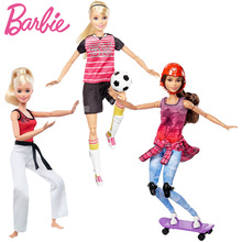 Original Barbie Doll For Girl Move Sports Set Skateboarder Martial artist soccer player Girl Fashion Christmas Birthday Gift(China)
