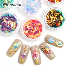 ELESSICAL 6 bottles Holographic Rhombus Nail Art Decorations Acrylic Powder Nails Glitters DIY 3D Colorful Lasers Sequins WY934