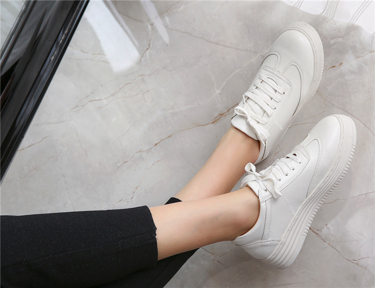 17 Women White Shoes Autumn Winter Soft Comfortable Casual Shoes Flats Platform Sneakers Real Leather Shoes Sapato Feminino 5