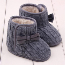 Baby Girls Boys Winter Warm Fur Shoes Children Girls Knitted Wool Line Warm Bowknot Soft Sole First Walkers Chaussures De Bebe