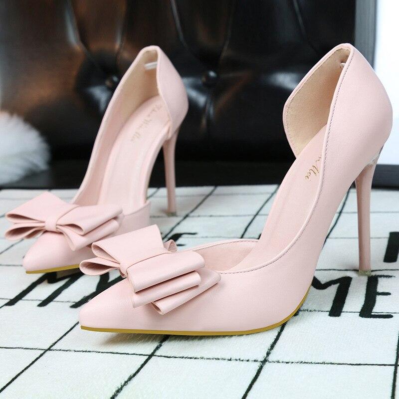 Ladies High Heels Korean Sweet Woman Ladies Fashion Thin Heel Butterfly High Heels Zapatos Mujer Pink Women Shoes Pumps Heels<br><br>Aliexpress