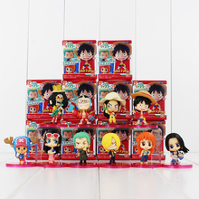 10pcs/lot One Piece Two Year Later Figures Luffy Tony Tony Chopper Sanji Nami Robin Model Doll Figure Toy Free Shipping
