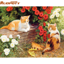 RUOPOTY Cute Cat DIY Painting By Numbers Animals Modern Wall Art Canvas Painting For Unique Gift Home Wall Decor 40x50cm Arts